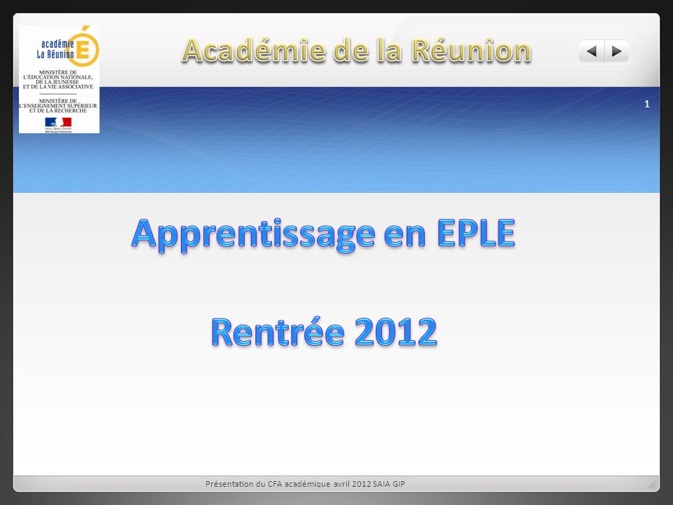 Apprentissage en EPLE Rentrée 2012