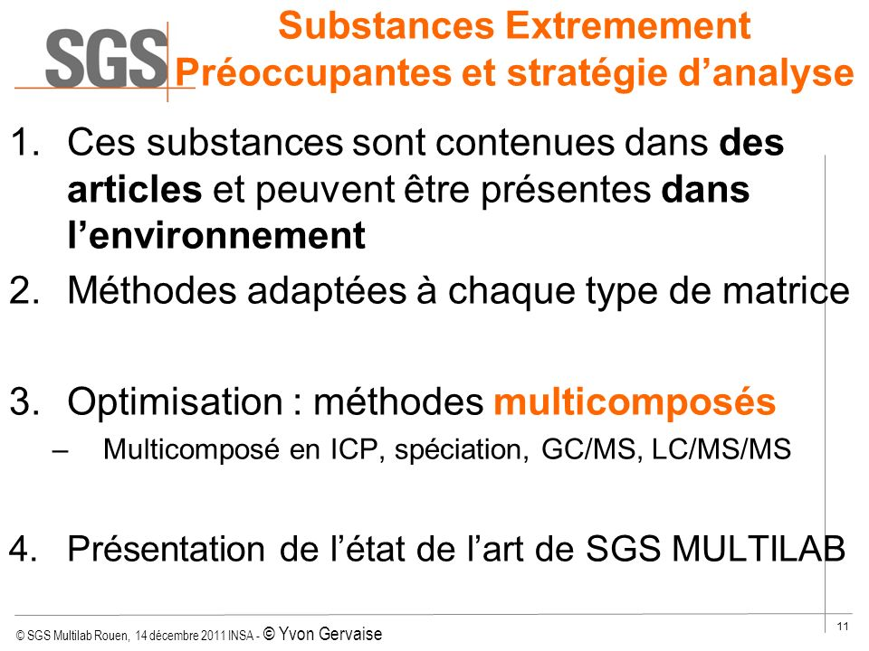 Substances Extremement Préoccupantes et stratégie d'analyse