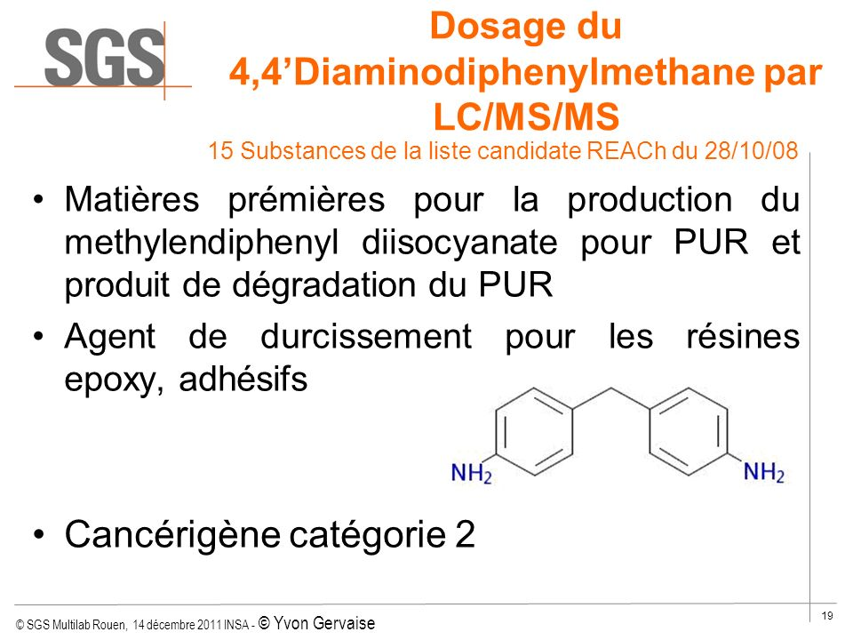 Dosage du 4,4'Diaminodiphenylmethane par LC/MS/MS