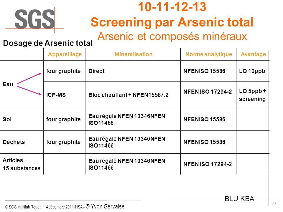 10-11-12-13 Screening par Arsenic total Arsenic et composés minéraux