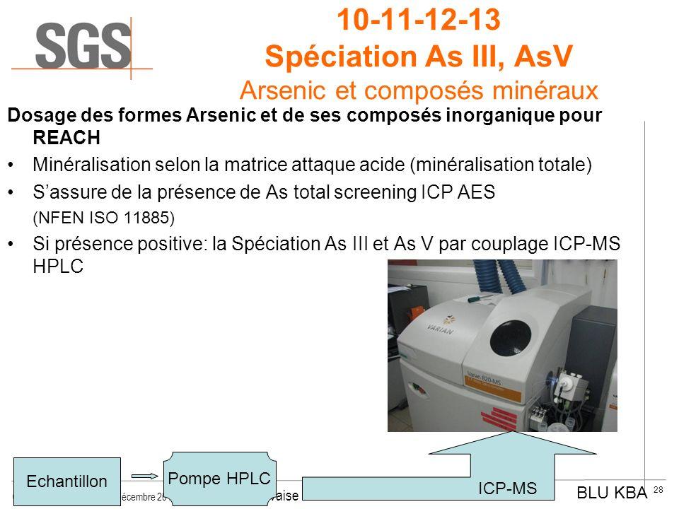 10-11-12-13 Spéciation As III, AsV Arsenic et composés minéraux