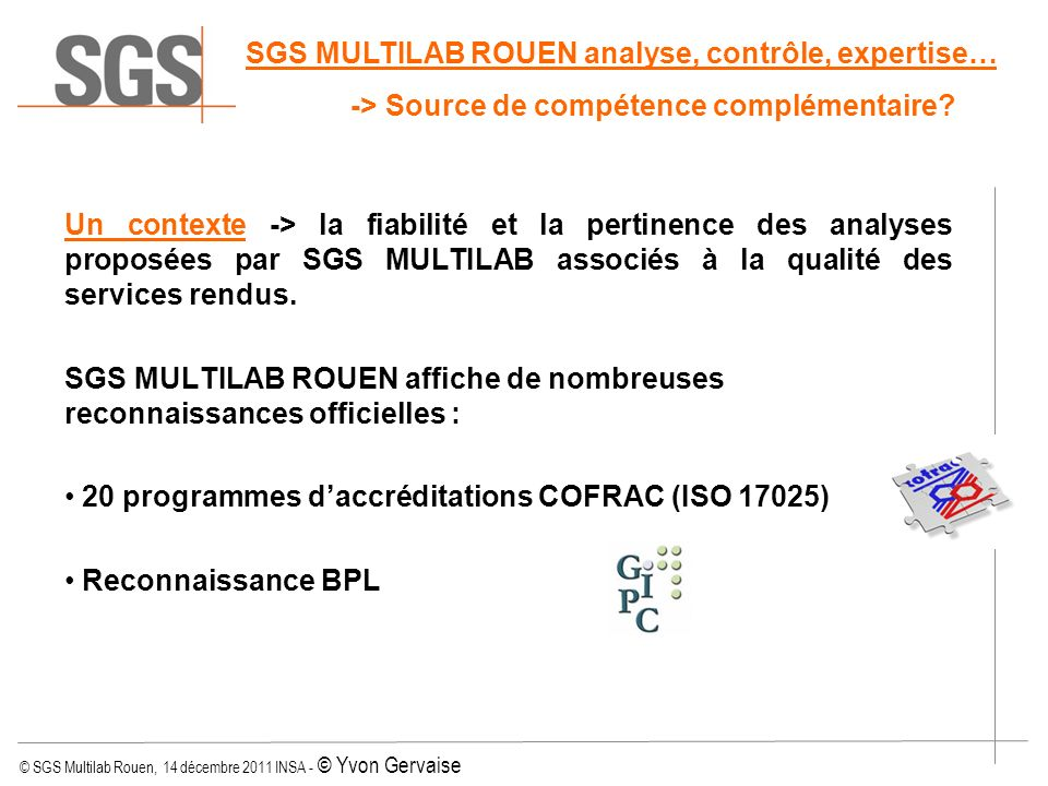 SGS MULTILAB ROUEN analyse, contrôle, expertise…