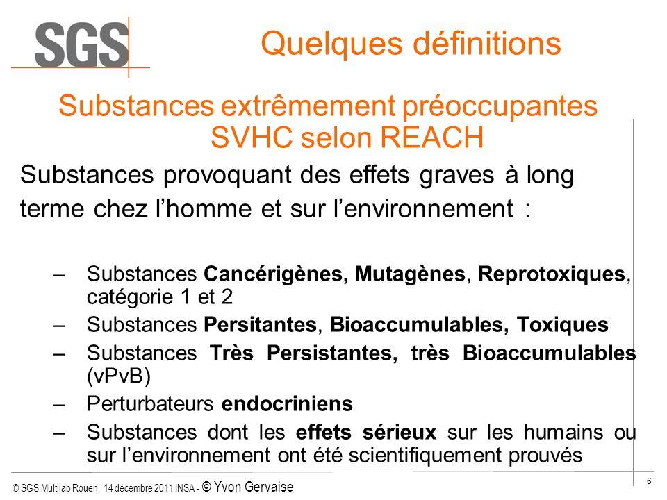 Substances extrêmement préoccupantes SVHC selon REACH