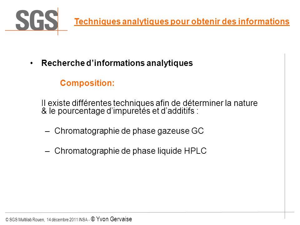 Techniques analytiques pour obtenir des informations