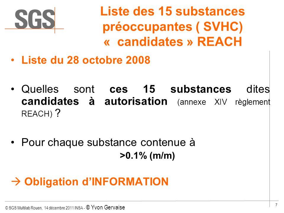 Liste des 15 substances préoccupantes ( SVHC) « candidates » REACH