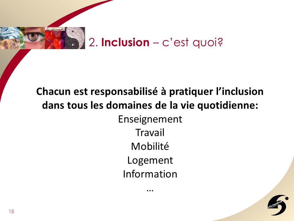 2. Inclusion – c'est quoi Chacun est responsabilisé à pratiquer l'inclusion dans tous les domaines de la vie quotidienne: