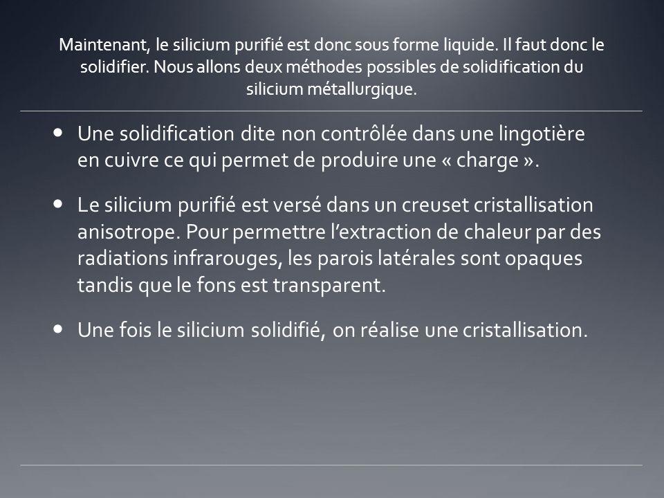 Une fois le silicium solidifié, on réalise une cristallisation.