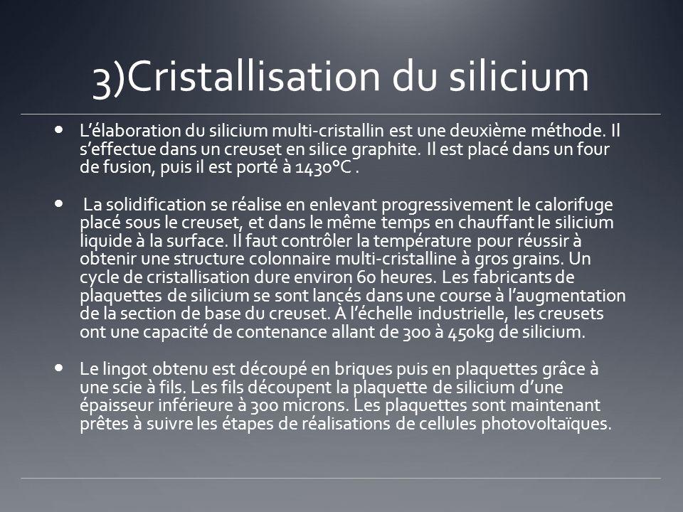 3)Cristallisation du silicium