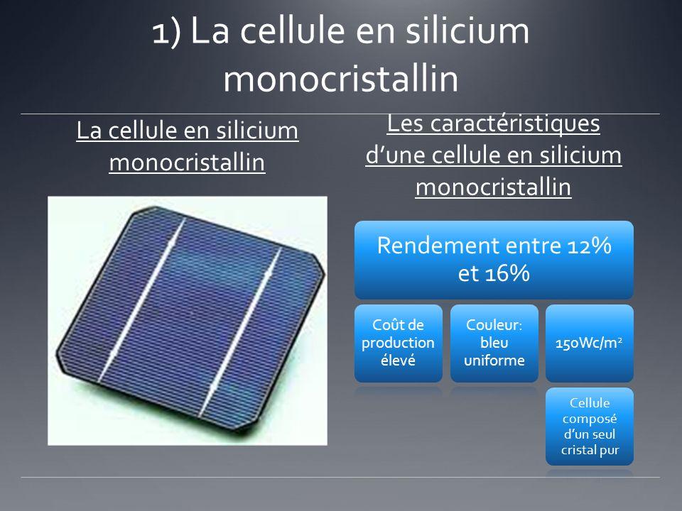 1) La cellule en silicium monocristallin