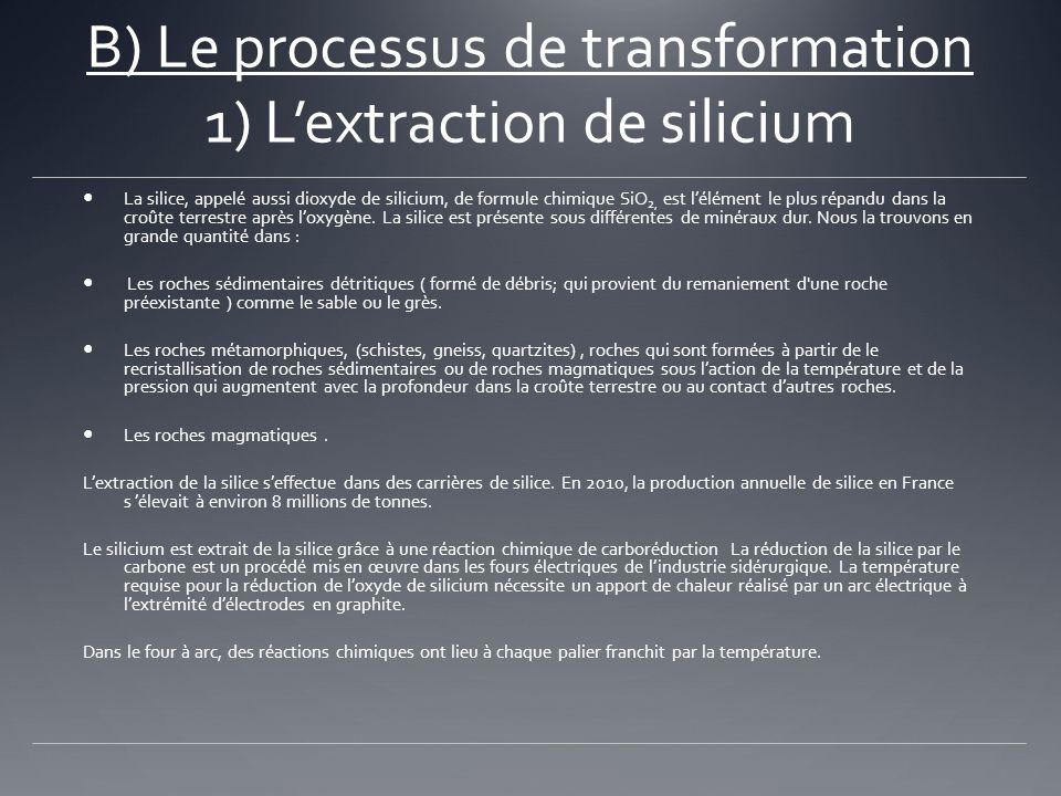 B) Le processus de transformation 1) L'extraction de silicium