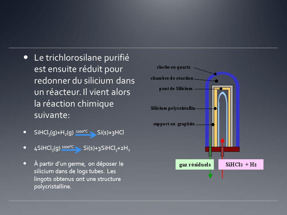 Le trichlorosilane purifié est ensuite réduit pour redonner du silicium dans un réacteur. Il vient alors la réaction chimique suivante: