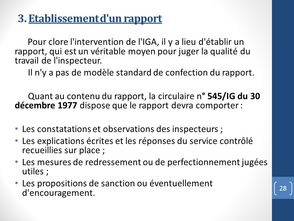 3. Etablissement d un rapport