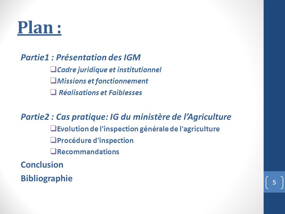 Plan : Partie1 : Présentation des IGM