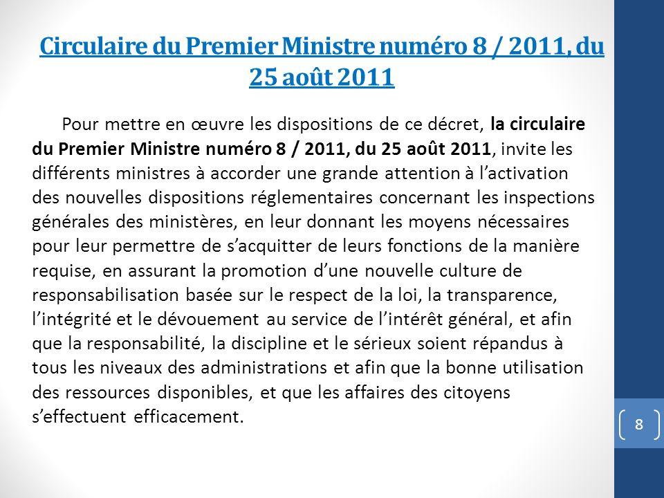 Circulaire du Premier Ministre numéro 8 / 2011, du 25 août 2011