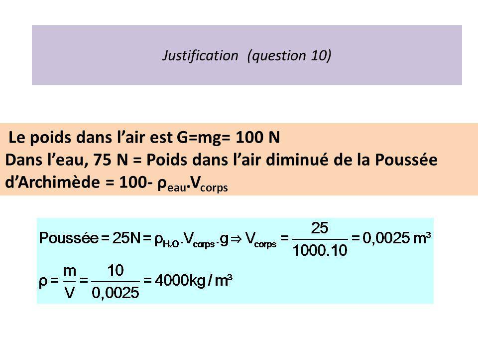 Justification (question 10)