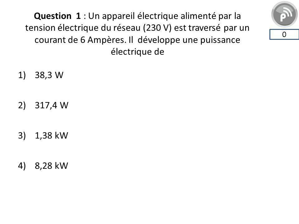 Question 1 : Un appareil électrique alimenté par la tension électrique du réseau (230 V) est traversé par un courant de 6 Ampères. Il développe une puissance électrique de
