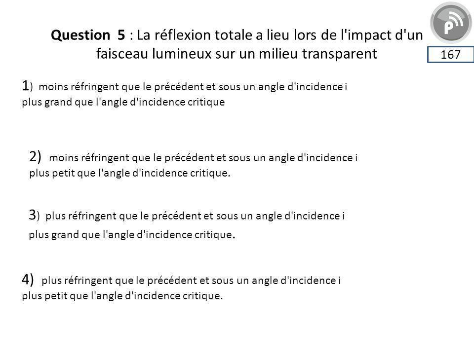 Question 5 : La réflexion totale a lieu lors de l impact d un faisceau lumineux sur un milieu transparent