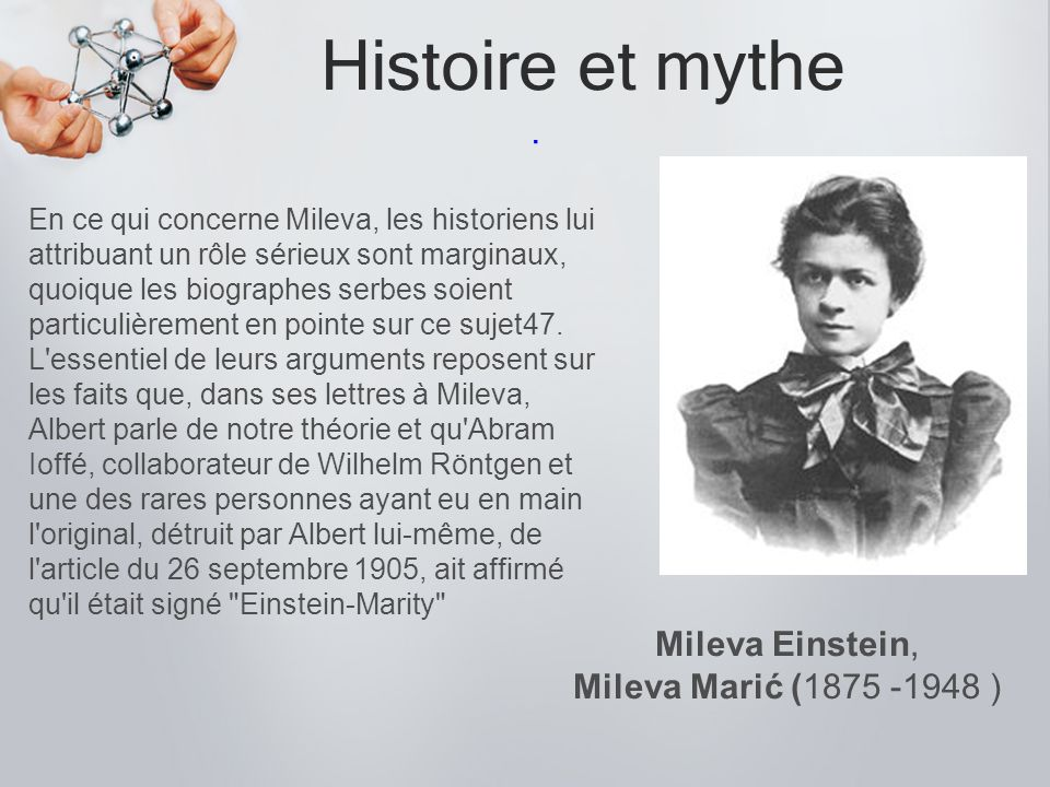Histoire et mythe . Mileva Einstein, Mileva Marić (1875 -1948 )