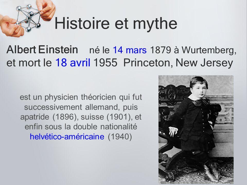 Histoire et mythe Albert Einstein né le 14 mars 1879 à Wurtemberg,