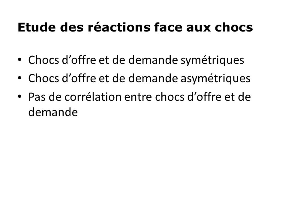 Etude des réactions face aux chocs