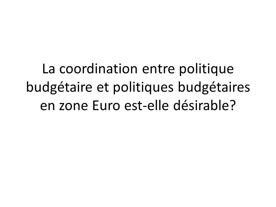 La coordination entre politique budgétaire et politiques budgétaires en zone Euro est-elle désirable