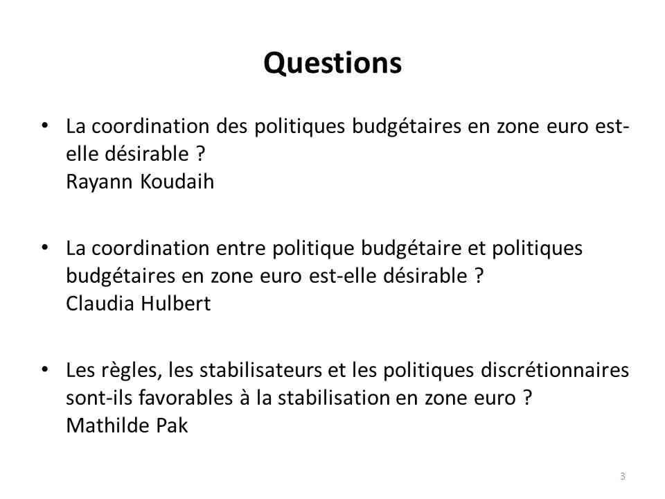 Questions La coordination des politiques budgétaires en zone euro est-elle désirable Rayann Koudaih.