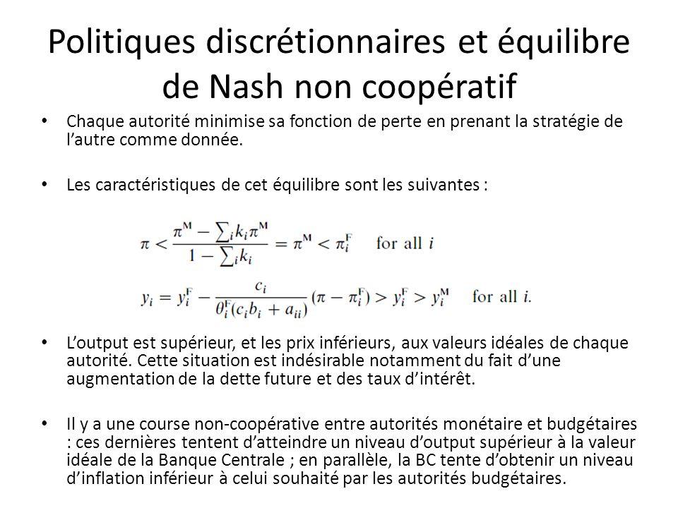 Politiques discrétionnaires et équilibre de Nash non coopératif