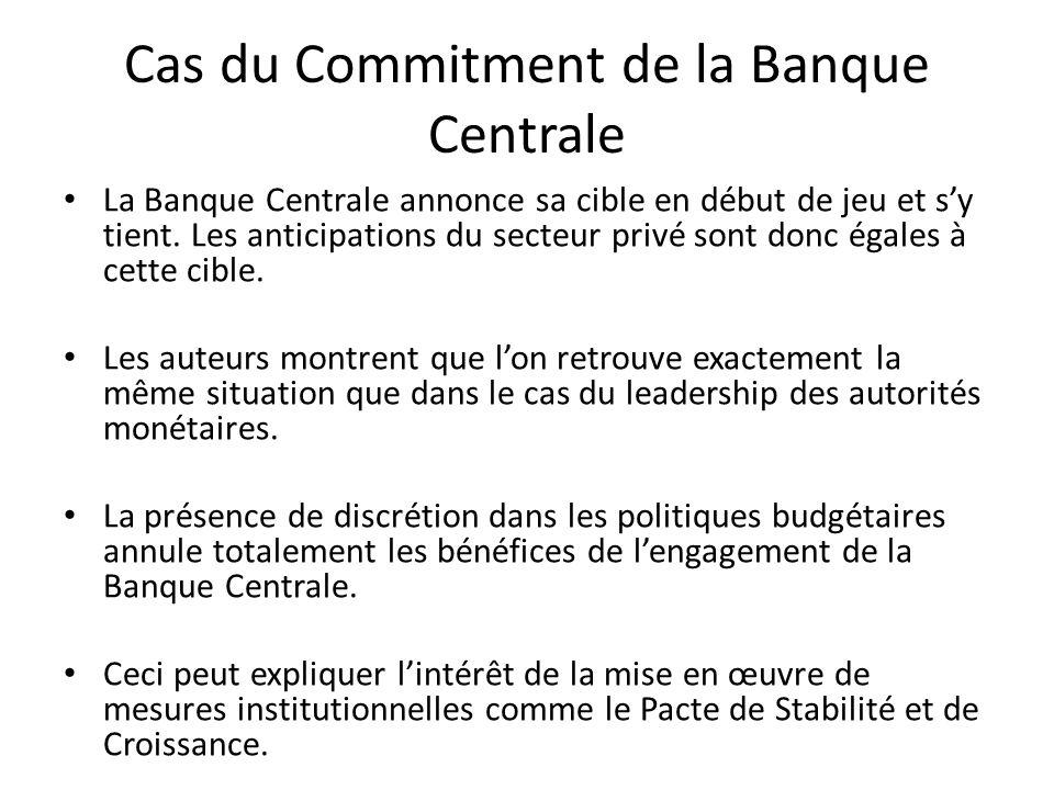 Cas du Commitment de la Banque Centrale