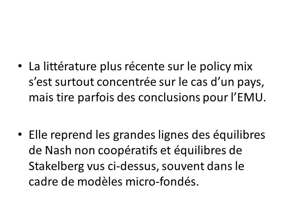 La littérature plus récente sur le policy mix s'est surtout concentrée sur le cas d'un pays, mais tire parfois des conclusions pour l'EMU.