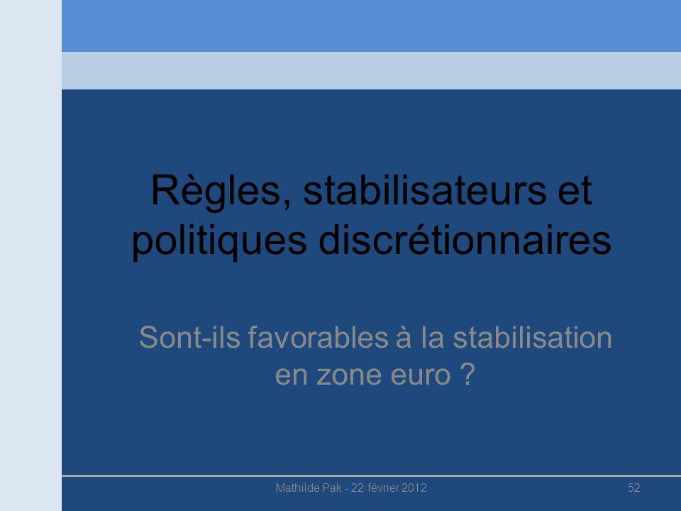 Règles, stabilisateurs et politiques discrétionnaires