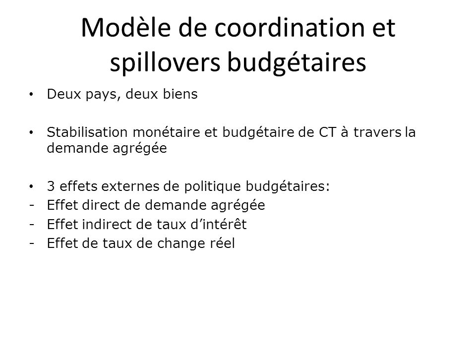 Modèle de coordination et spillovers budgétaires