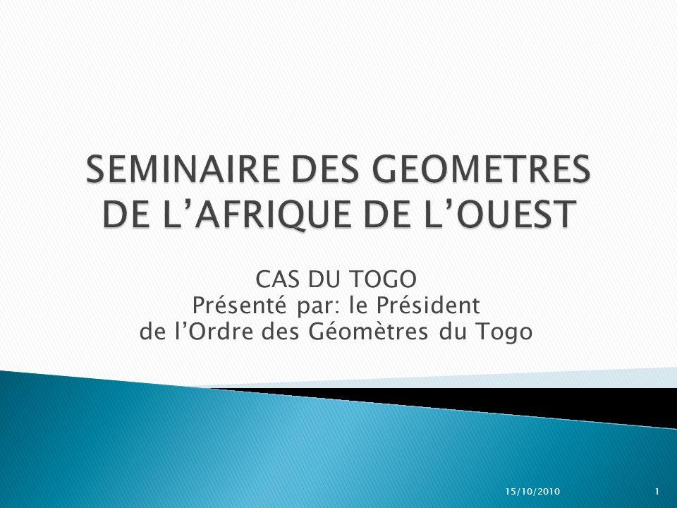 SEMINAIRE DES GEOMETRES DE L'AFRIQUE DE L'OUEST