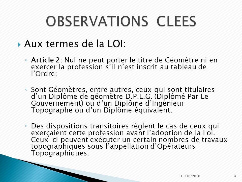 OBSERVATIONS CLEES Aux termes de la LOI: