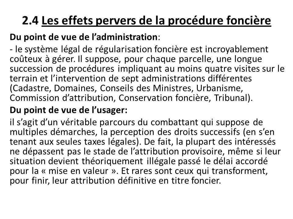 2.4 Les effets pervers de la procédure foncière