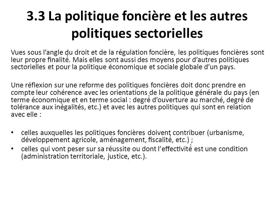 3.3 La politique foncière et les autres politiques sectorielles