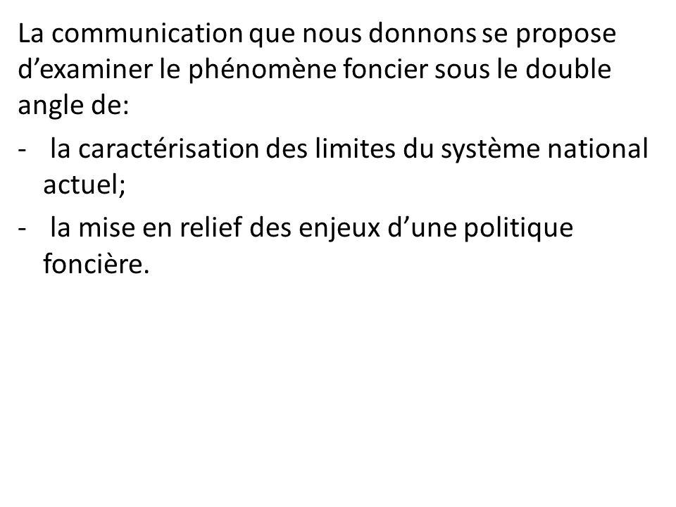 La communication que nous donnons se propose d'examiner le phénomène foncier sous le double angle de: