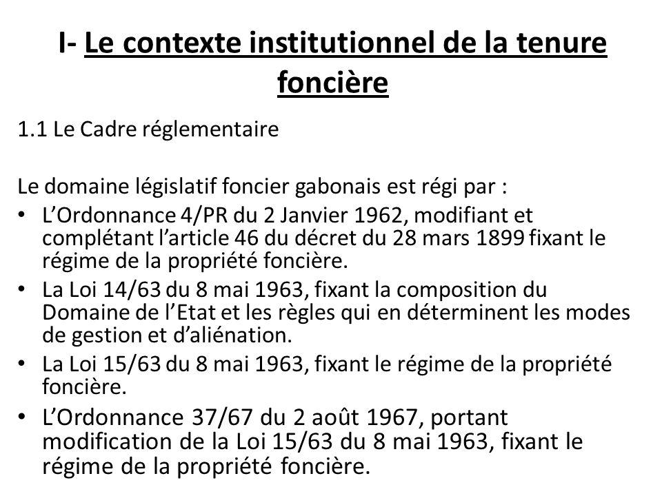 I- Le contexte institutionnel de la tenure foncière