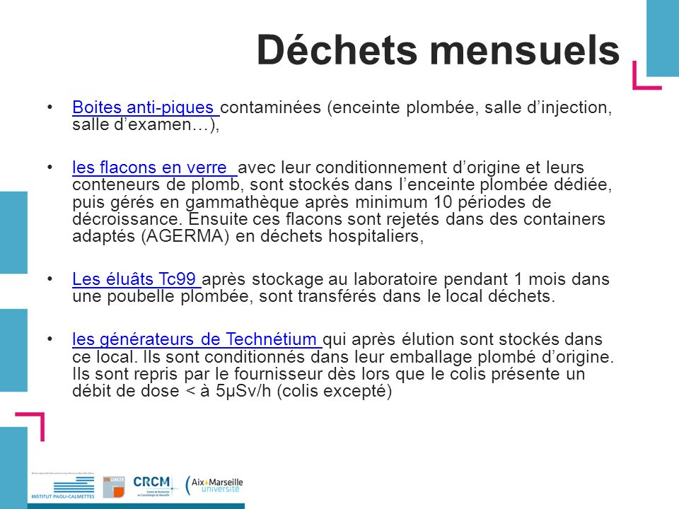 Déchets mensuels Boites anti-piques contaminées (enceinte plombée, salle d'injection, salle d'examen…),