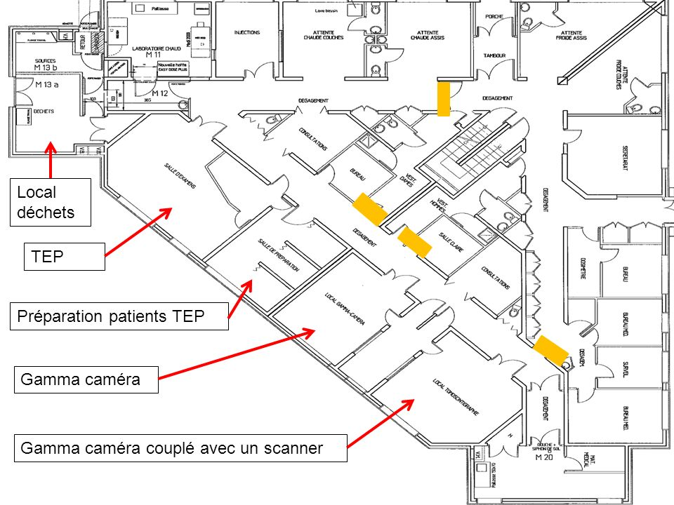Local déchets TEP Préparation patients TEP Gamma caméra Gamma caméra couplé avec un scanner