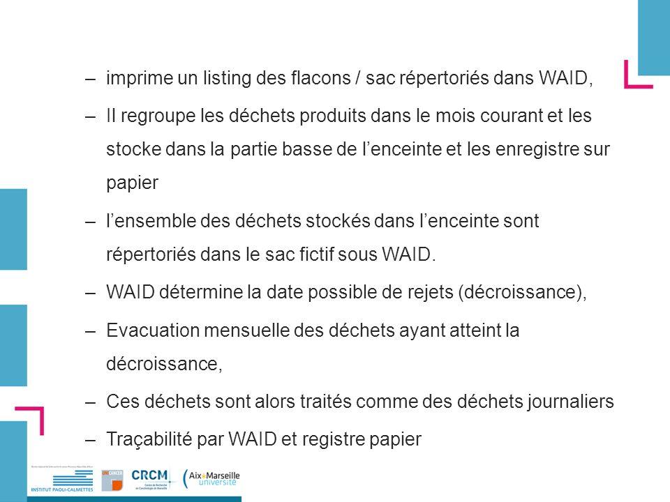 imprime un listing des flacons / sac répertoriés dans WAID,