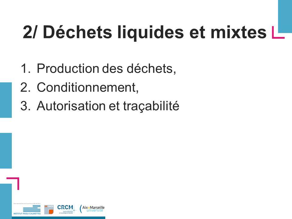 2/ Déchets liquides et mixtes