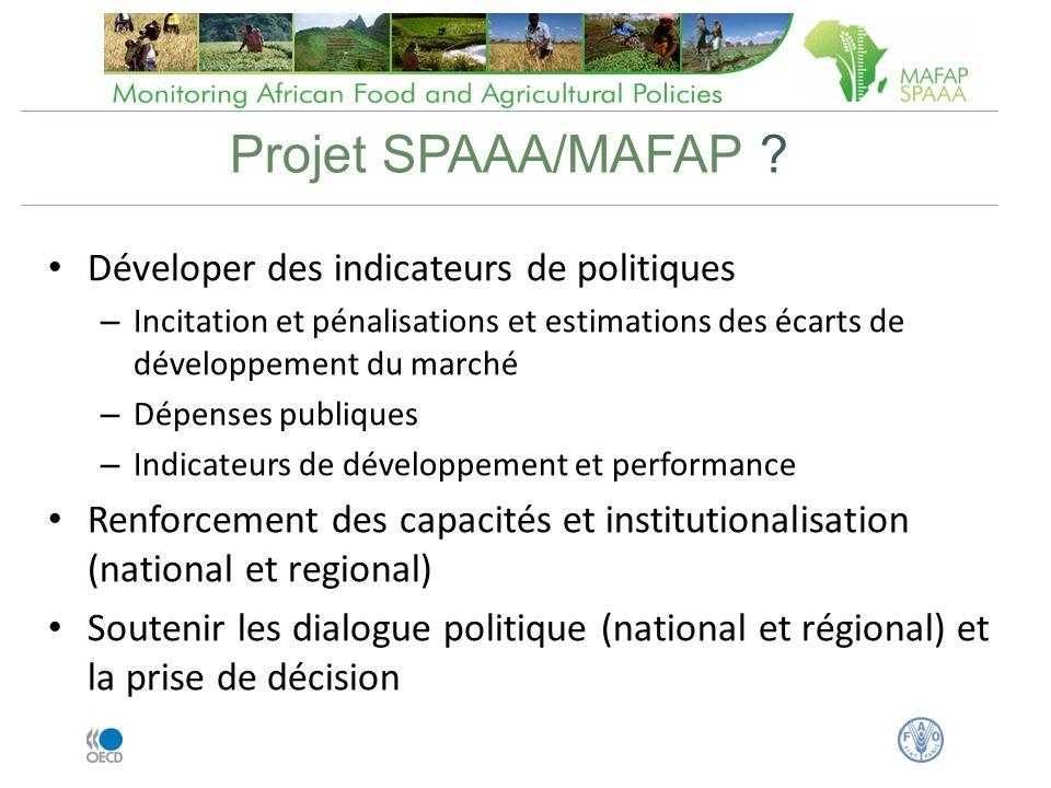 Projet SPAAA/MAFAP Déveloper des indicateurs de politiques