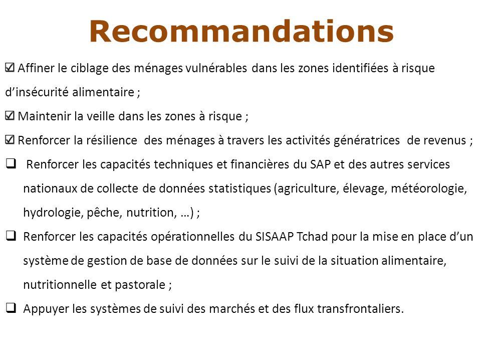 Recommandations Affiner le ciblage des ménages vulnérables dans les zones identifiées à risque d'insécurité alimentaire ;