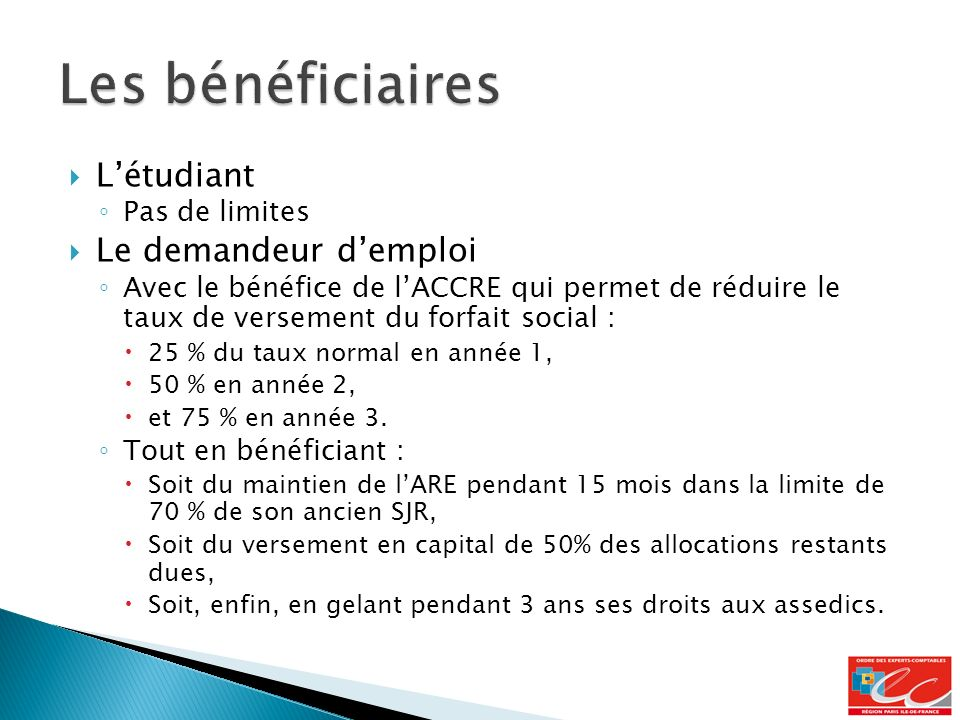 Les bénéficiaires L'étudiant Le demandeur d'emploi Pas de limites