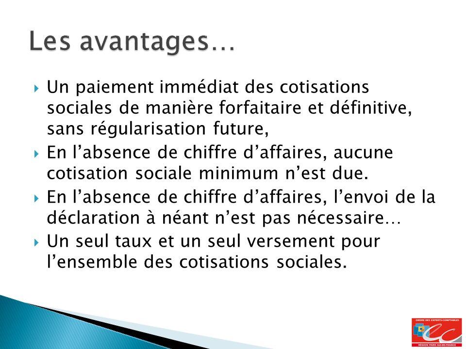 Les avantages… Un paiement immédiat des cotisations sociales de manière forfaitaire et définitive, sans régularisation future,