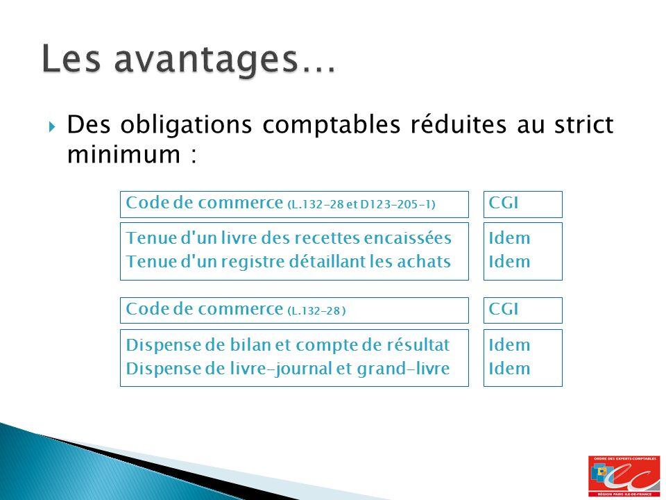 Les avantages… Des obligations comptables réduites au strict minimum :