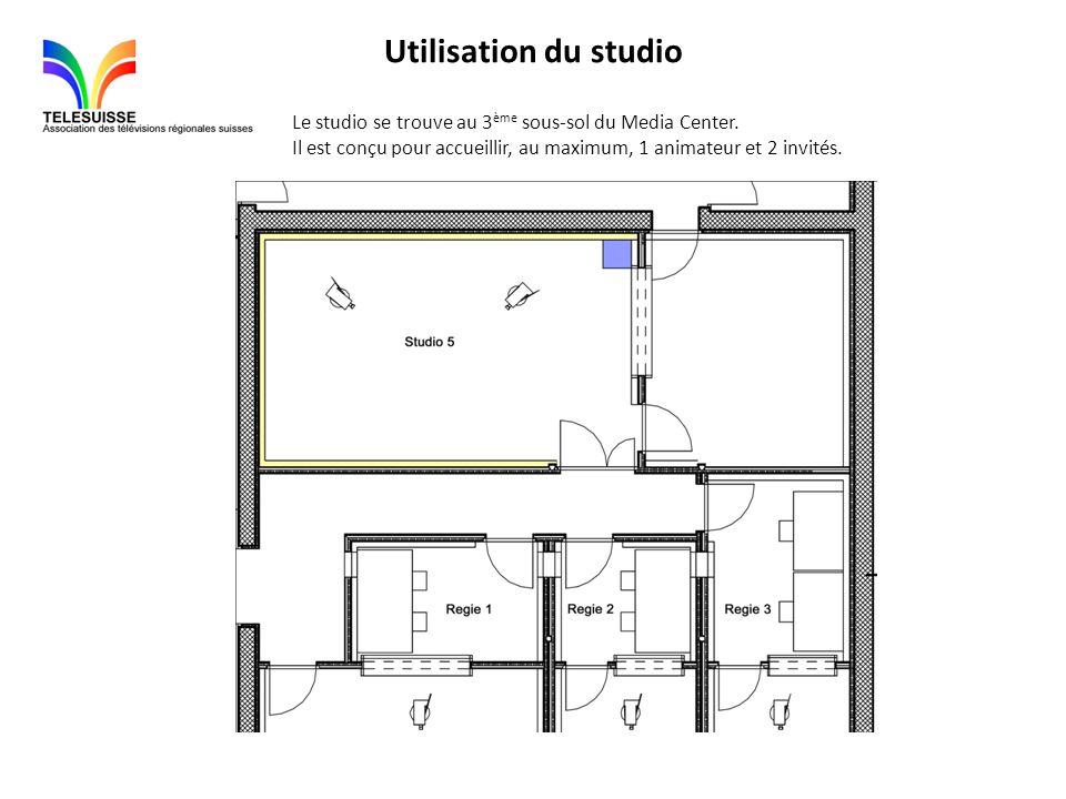 Utilisation du studio Le studio se trouve au 3ème sous-sol du Media Center.