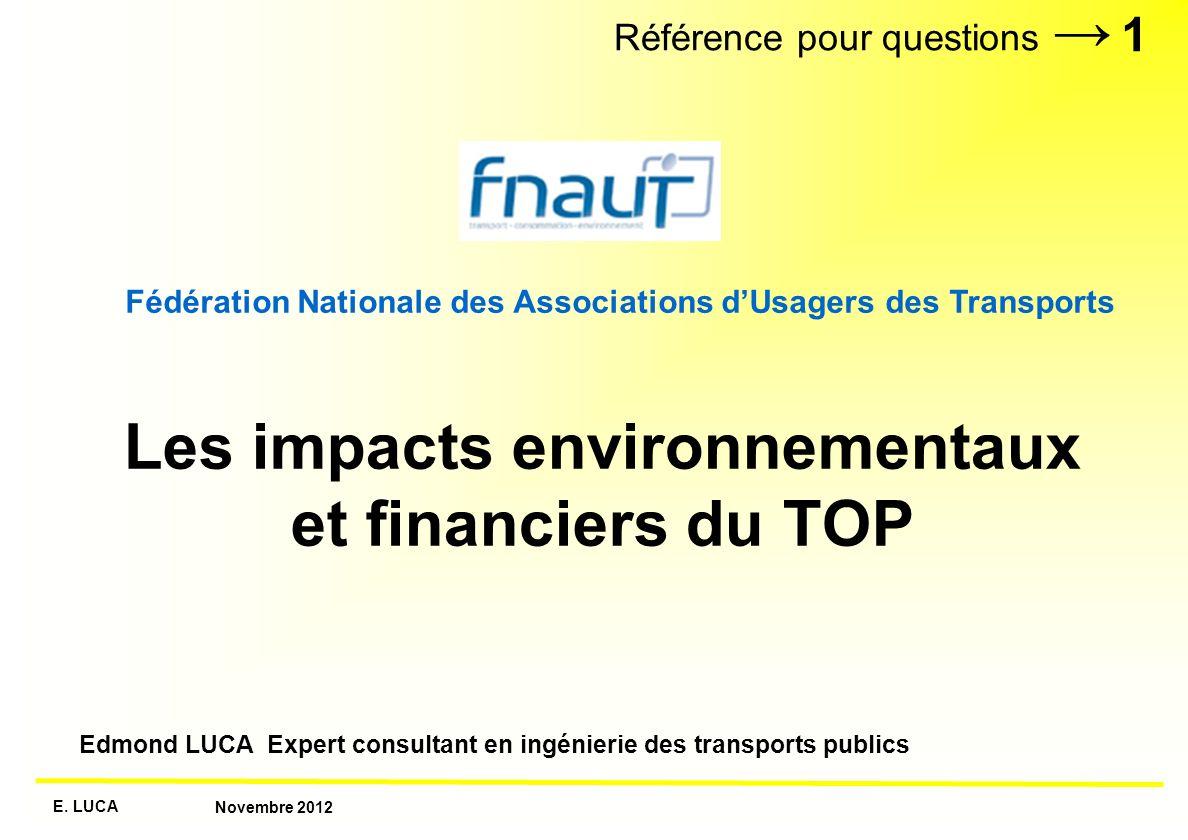 Les impacts environnementaux et financiers du TOP