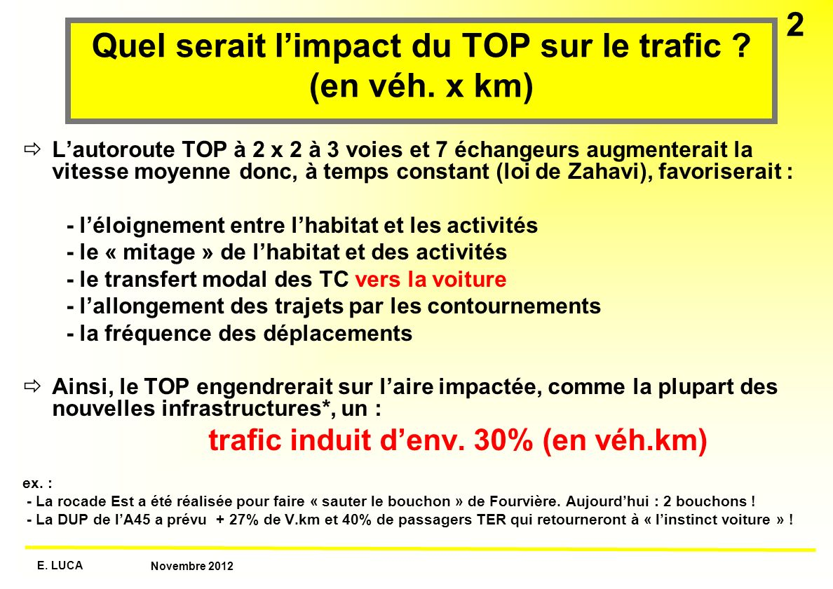 Quel serait l'impact du TOP sur le trafic (en véh. x km)