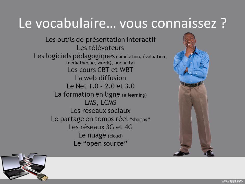 Le vocabulaire… vous connaissez
